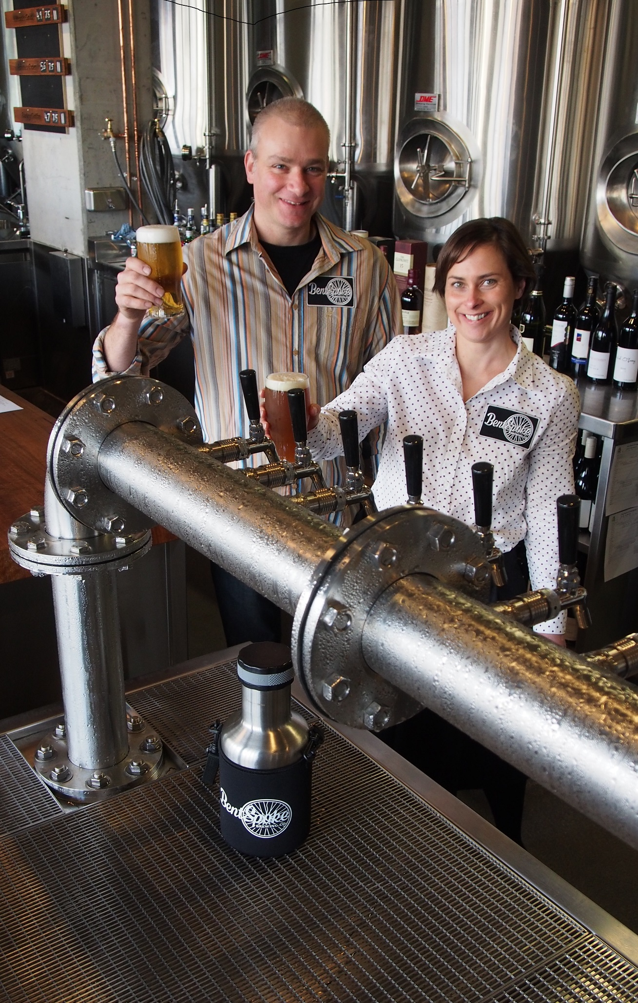 BentSpoke Owners Richard Watkins and Tracy Margrain celebrate the opening of BentSpoke Brewing Co. Image supplied.
