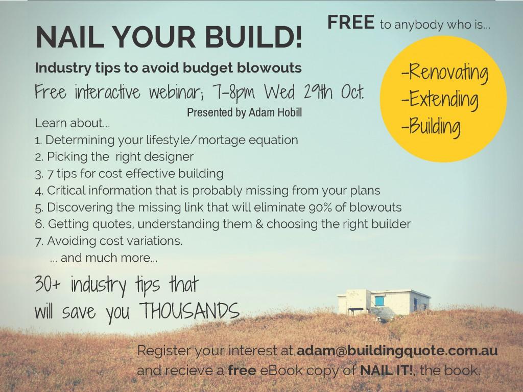 Adam Hobill Design - Nail your build Oct2014