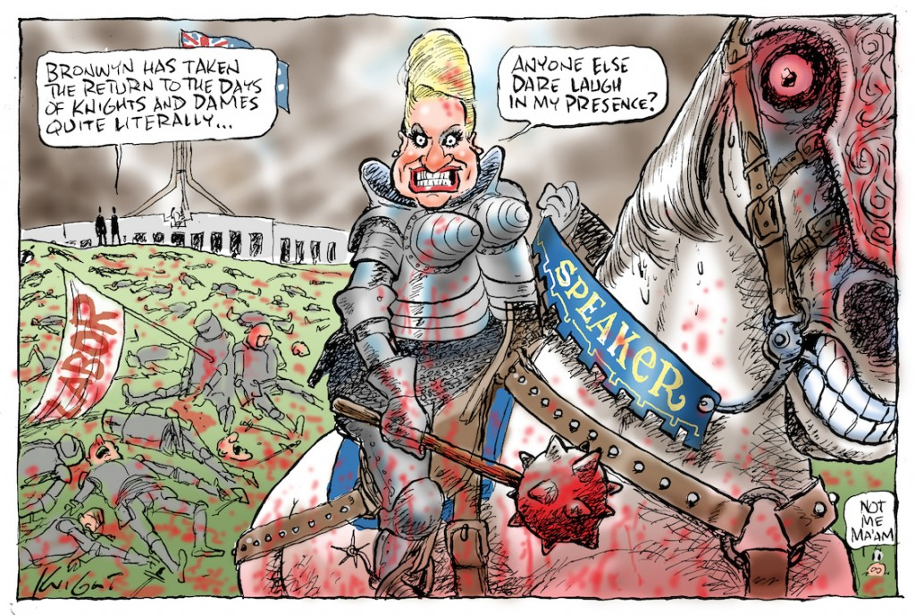 The Days of Knights and Dames, published in the Herald Sun 28 March 2014.  The Member for Mackellar, Bronwyn Bishop, was elected Speaker of the House of Representatives on 12 November 2013. Ms Bishop entered Parliament in 1987 and was twice a minister under Prime Minister John Howard.
