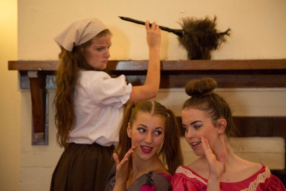 Adellene Fitzsimmons as Cinderella, Risa Craig as Stepsister Joy, Holly Ross as Stepsister Grace. Photo by Donna Larkin.