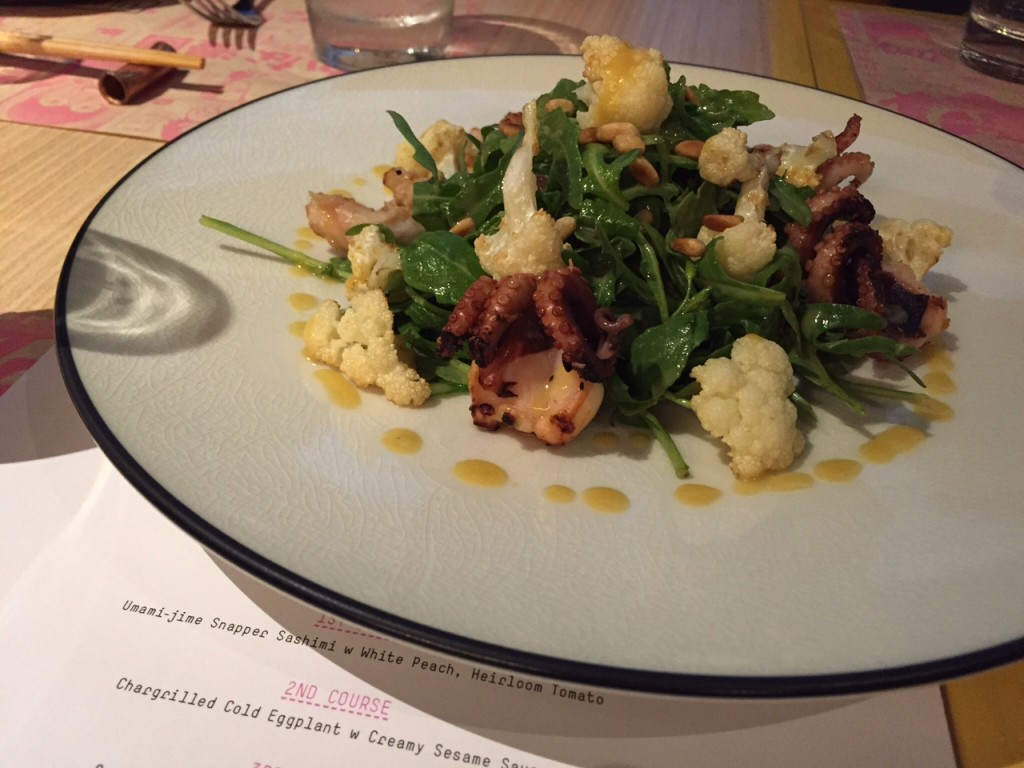 Chargrilled Baby Octopus and Rocket w Karashi Su Miso