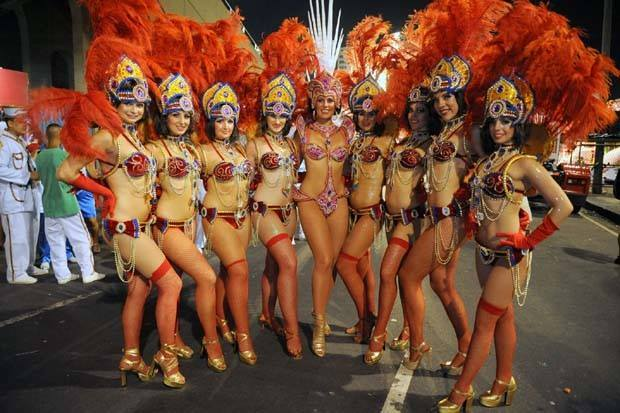 Canberra dancers in costume for the 2014 Carnival parade in Rio de Janeiro.