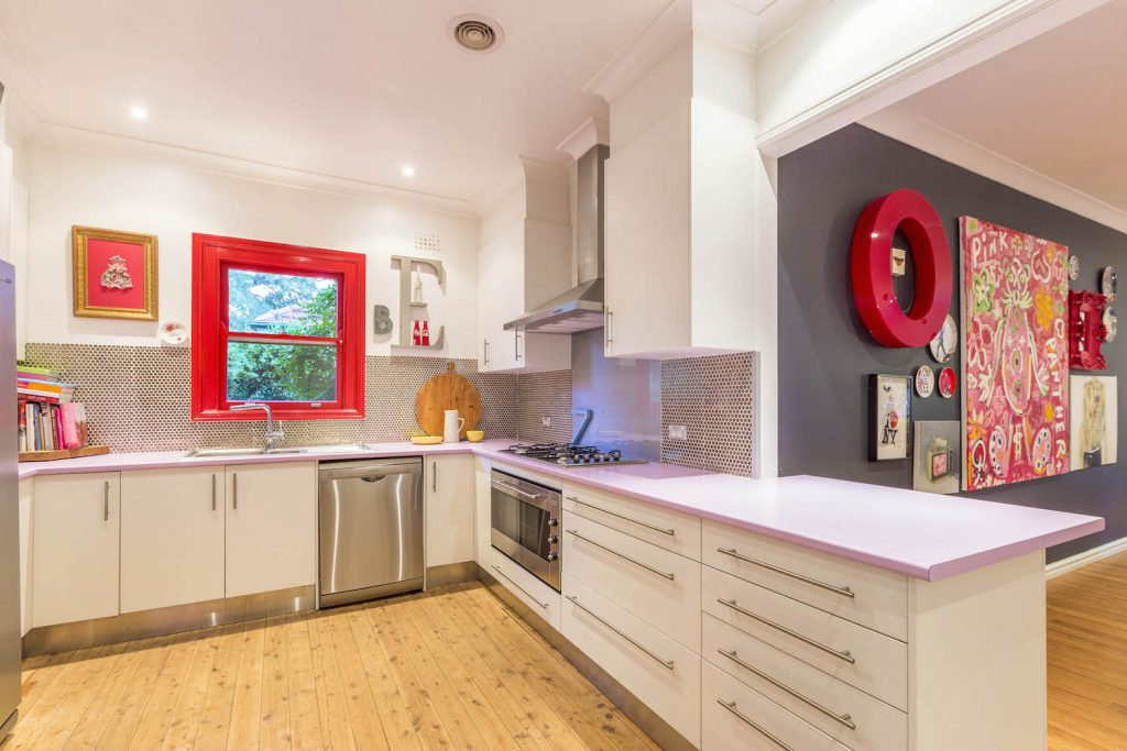 Soft purple bench tops in the kitchen