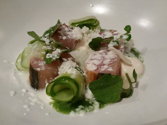 Bonito with pickled cucumber.