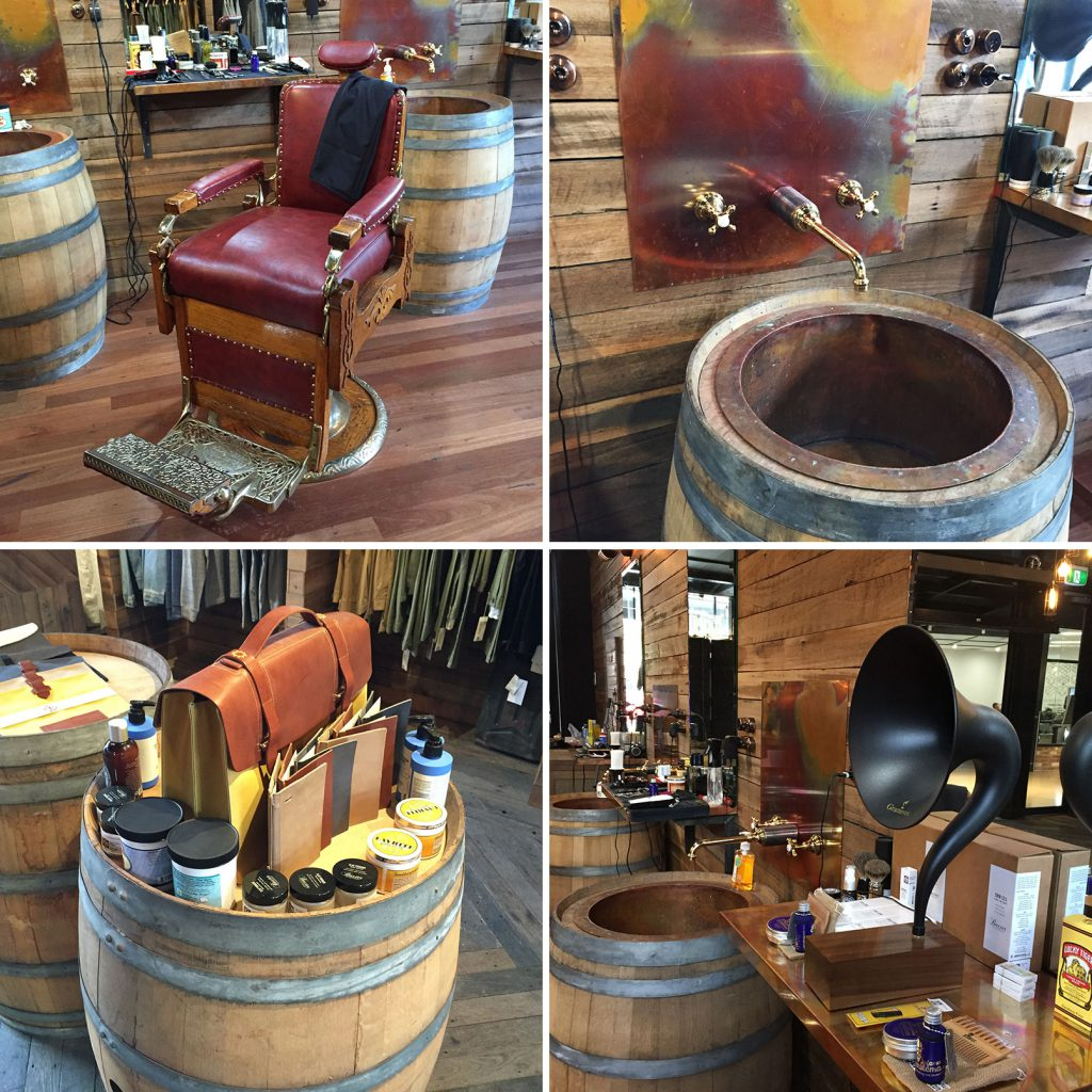 Chair is great – barrels serve many purposes – gramophone pipes gentlemanly music throughout.