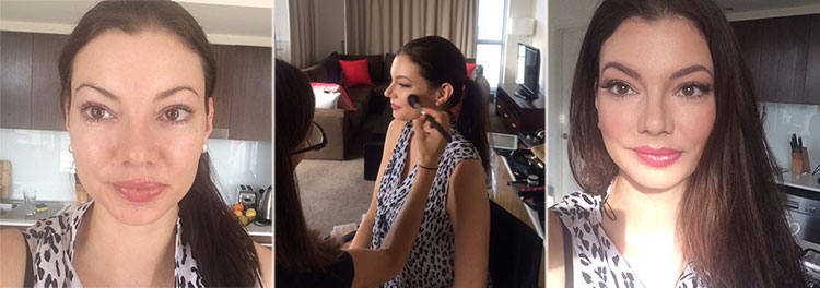 Laura before, after and during her makeup trial with Ali.