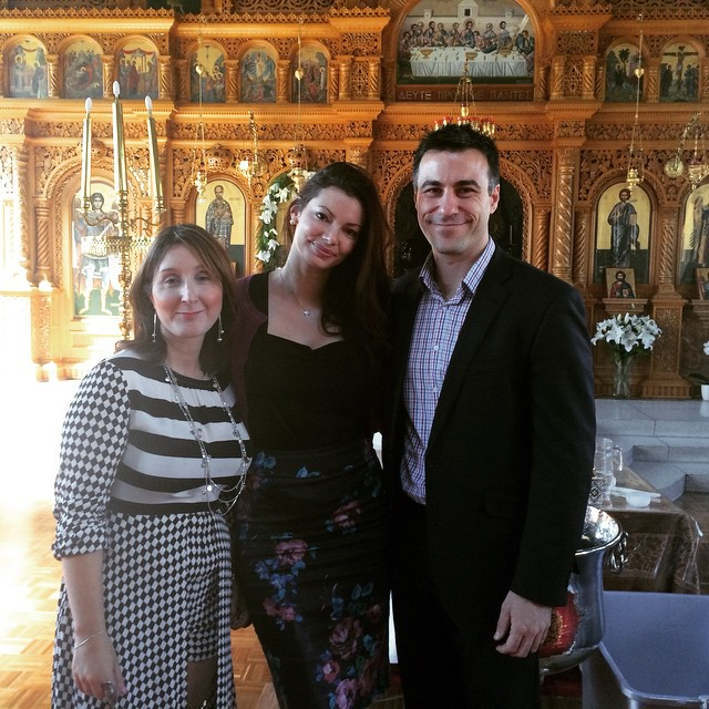 Laura with her godmother and fiance at the church.