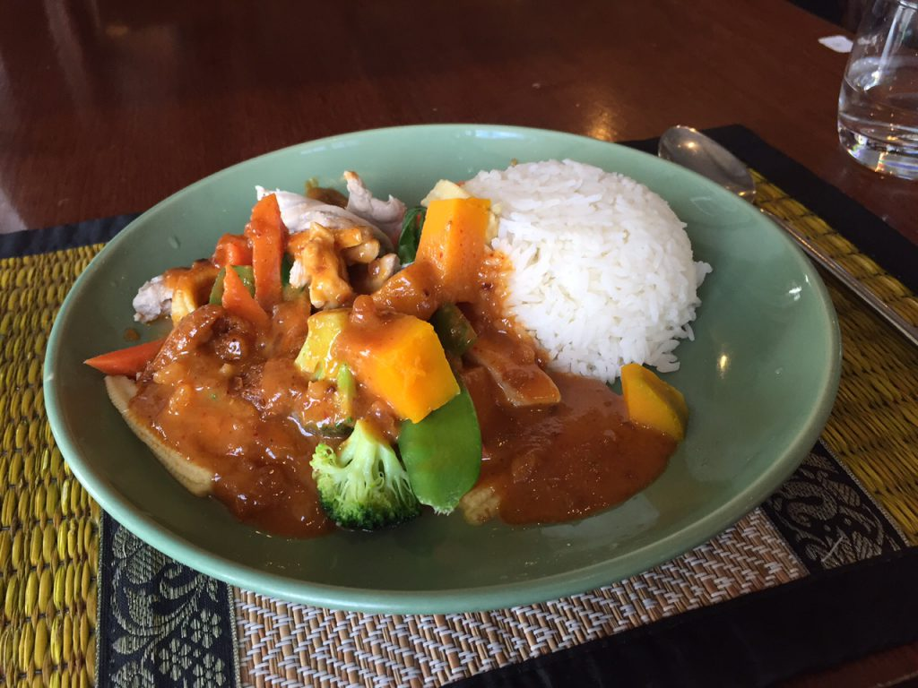 Chicken praram lunch special at Lemongrass Thai.