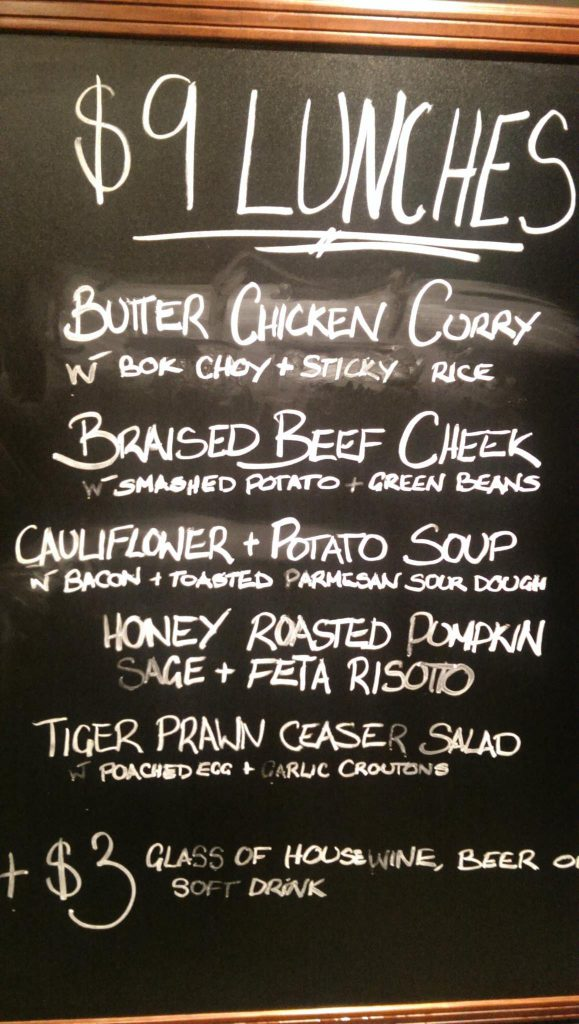 Blackboard lunch specials at Treehouse.