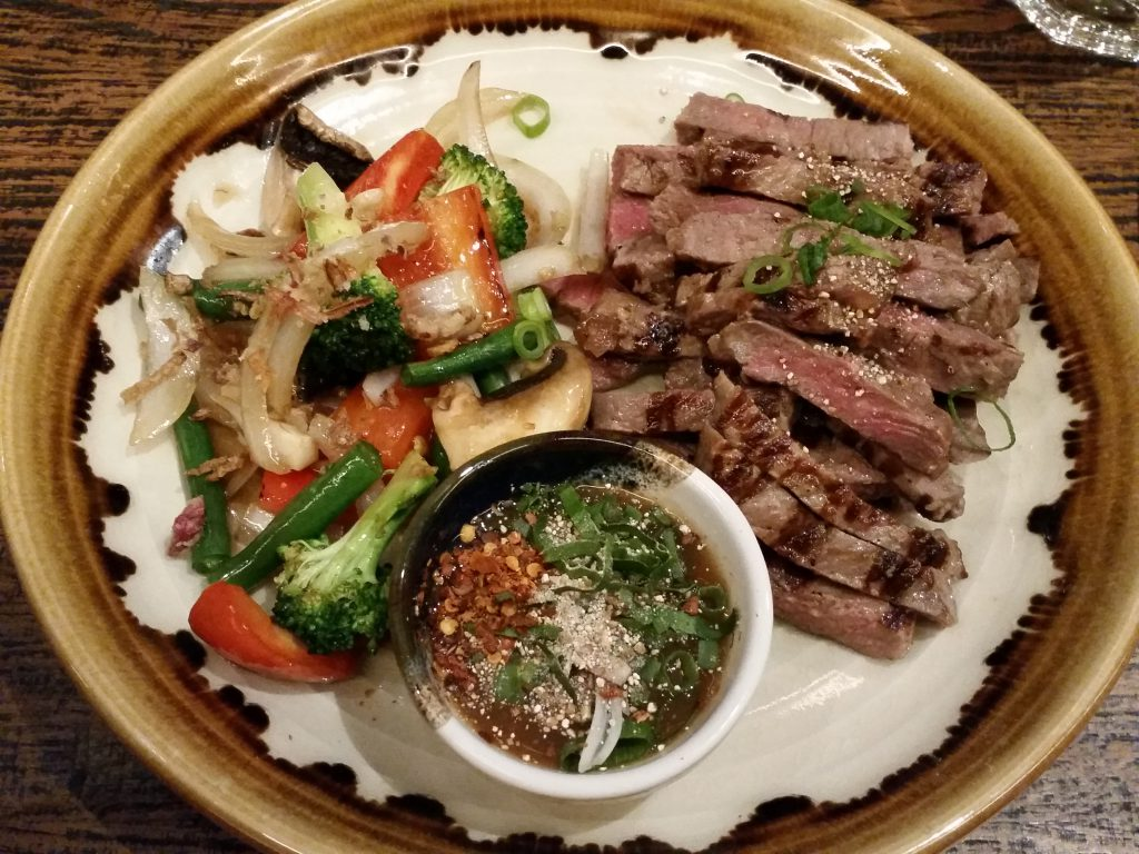 Wagyu beef with Nam Jim Jaew and vegetables