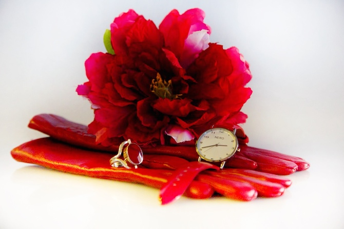 Products (left to right) are Red Gloves $69.00; Red Ring: $80.00; Red Flower $15.00; and Red Watch $180.00.