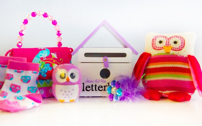 Products (left to right) are Owl Socks (pair) $19.95; Hand Bag $27.95; Owl Hand Cream $5.99; Purple Letter Box $59.00; Purple Pen $5.95; and Colourful Owl $23.95.