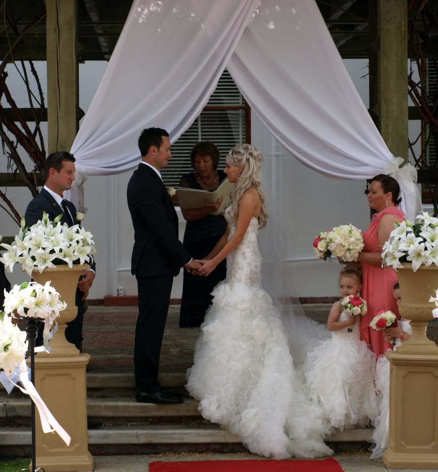 Liam and Chantelle during their ceremony at Old Parliament House.