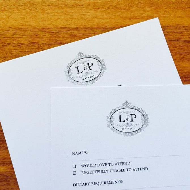Laura and Peter's invitations and RSVP cards.