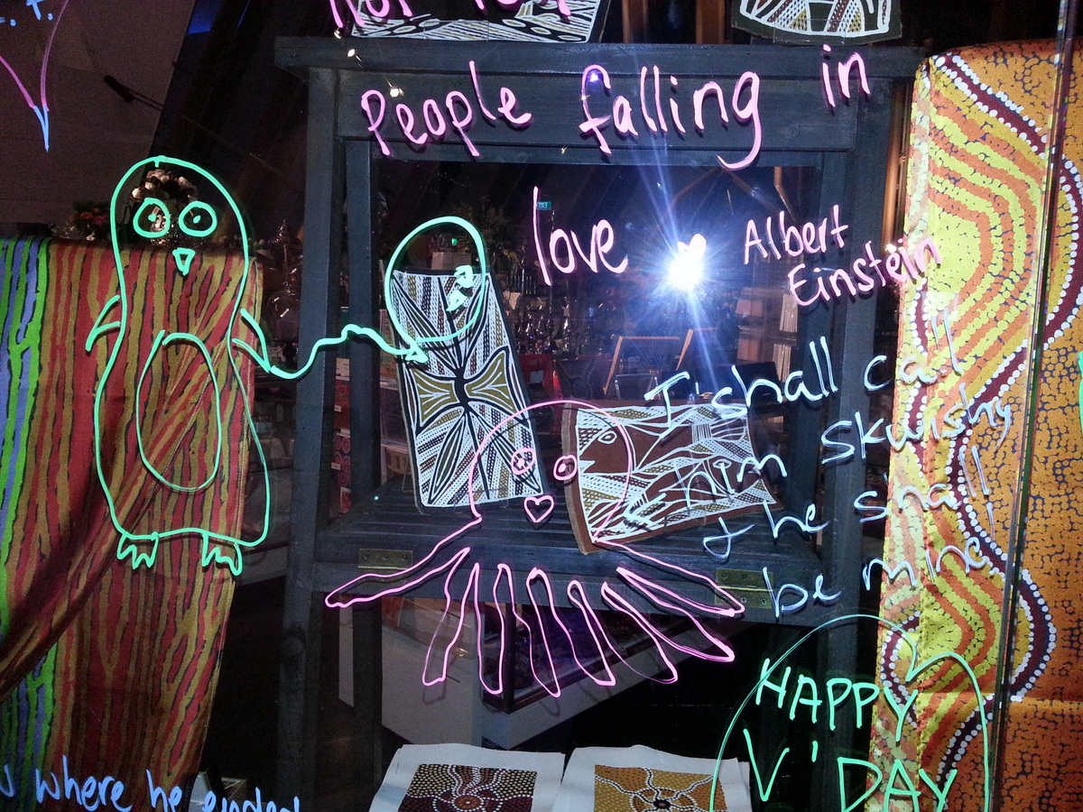 Drawing on the Museum Shop window at the Love Night at the Museum.