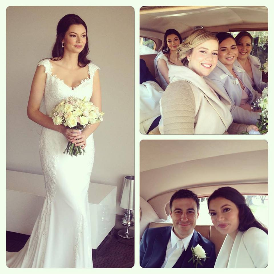 Laura, her bridesmaids and her husband on her big day.