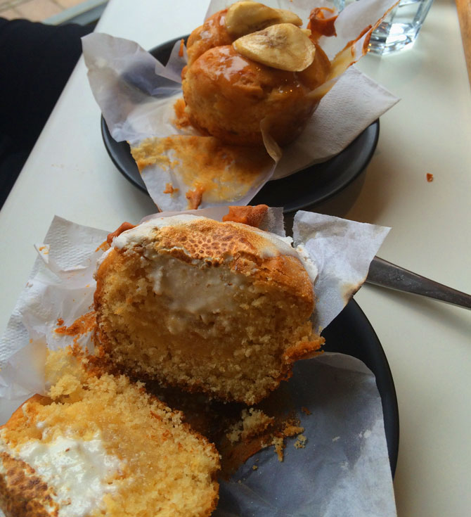 Lemon Meringue Muffin and (Gluten free) Banana Butterscotch Muffin.