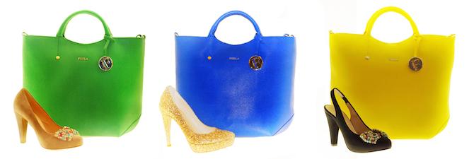 Products (left to right) Zocal Pump $365.00; Furla Emerald Bag $330.00; Kate Pump $290.00; Furla Ocean Blue Bag $330.00; Kate Heel $395.00; and Furla Sunny Bag $330.00.