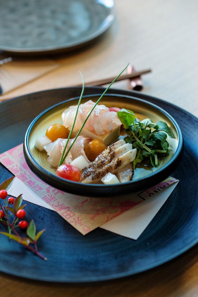 Umami-jime Snapper Sashimi, Josephine Pear, Heirloom Tomato w Chilli Tosazu.