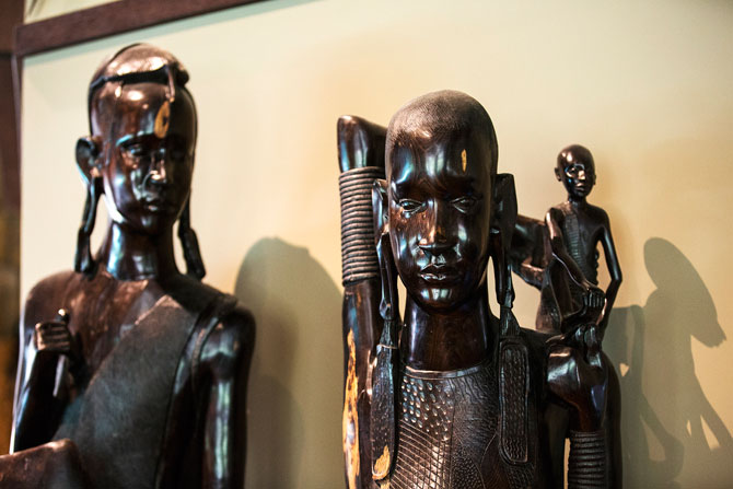 Masai Warrior sculptures.
