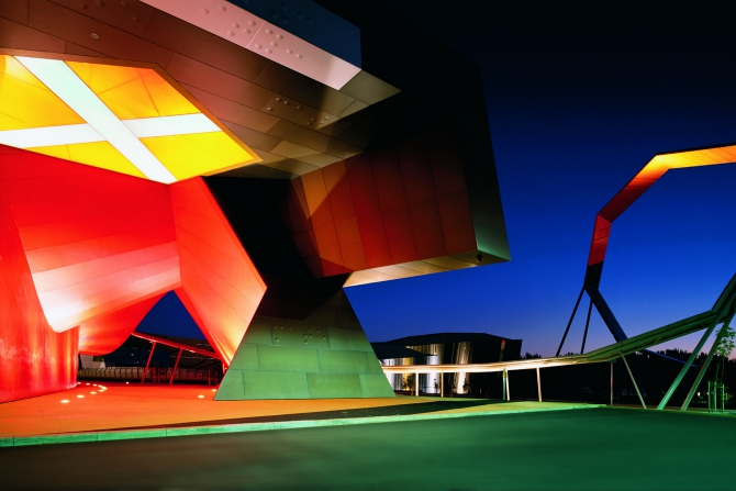 National Museum of Australia entrance at night