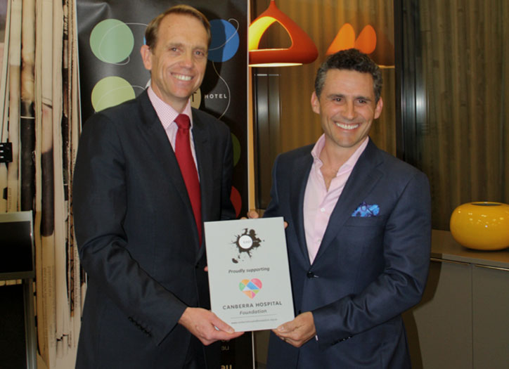 From left to right: Simon Corbell, ACT Minister for Health; Dan Bisa, owner of East Hotel and Director of Bisa Hotels.