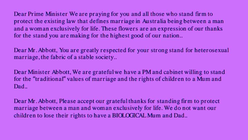 Some of the messages received by local florists for delivery to the lawns of Parliament House tomorrow.