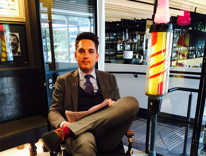 Craig Meggs in the chair at QT Canberra's The Barber Shop. Photo: QT Canberra.