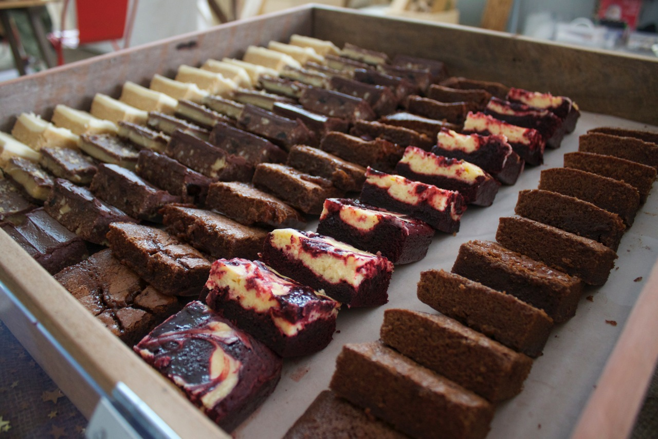 Brie's Lemon Slice, Caramel Slice, Chocolate Hedgehog, Salted Caramel Brownie, Red velvet cheesecake brownie and Chocolate brownie
