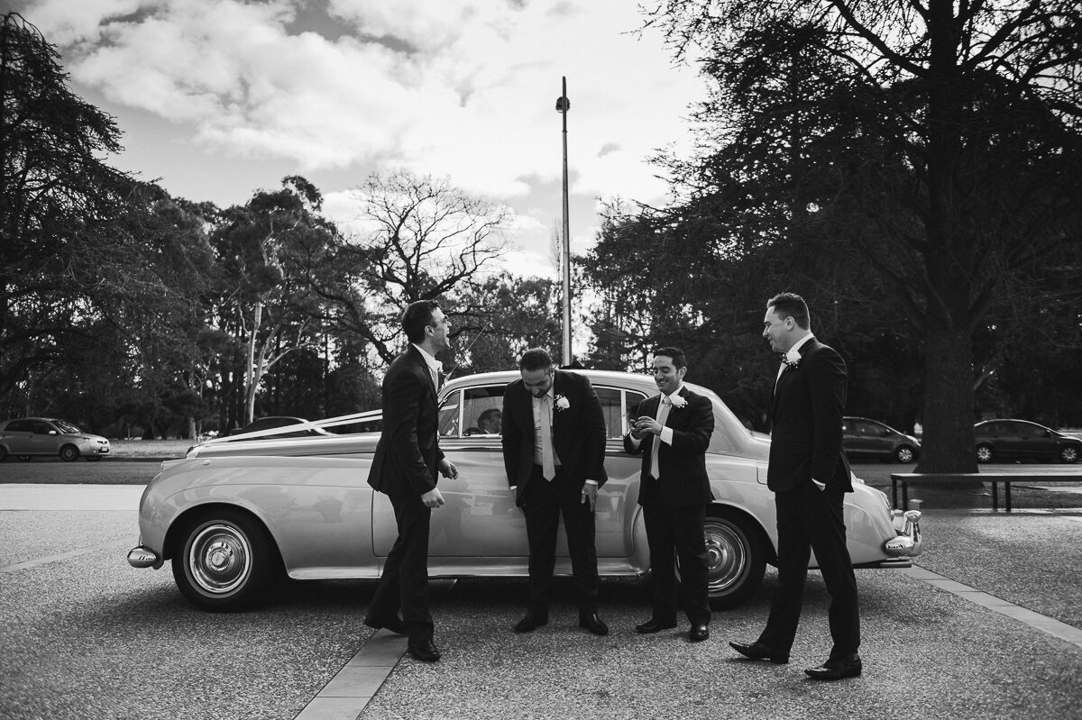 Peter and his groomsmen outside the church.