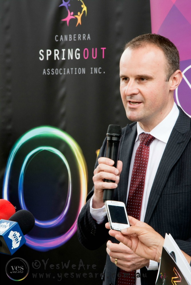 Cheif Minister Andrew Barr at the launch of SpringOUT
