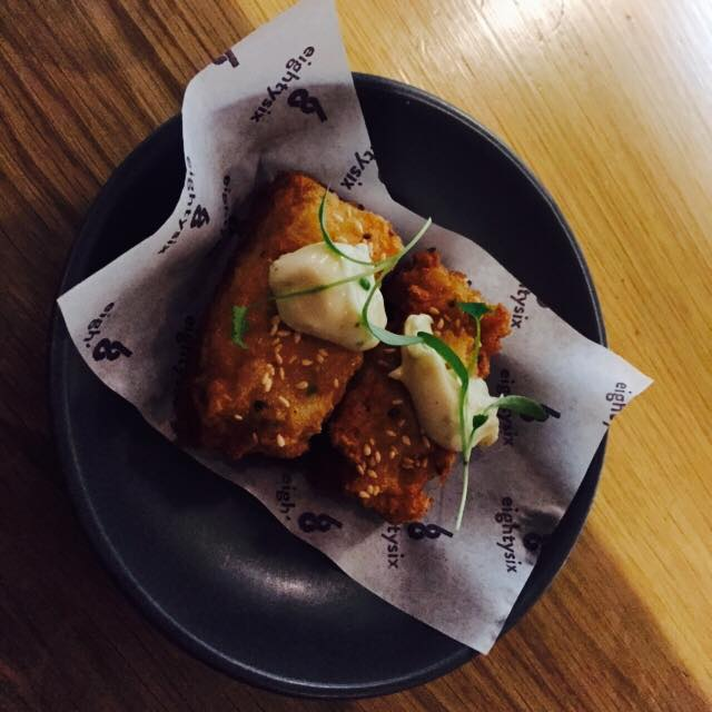 Prawn Toast with Yuzu Mayonnaise, one of Manfield's creations at the last eightysix pop up.