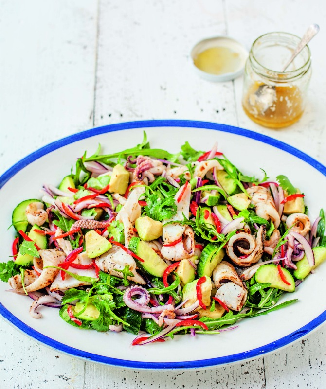 BBQ squid salad (River Cottage—courtesy of Bloomsbury Publishing