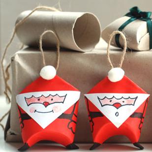 Toilet Paper roll Santas by Krokotak