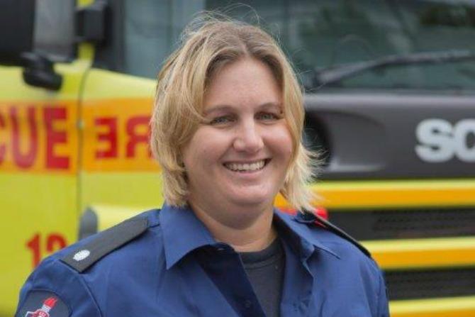 Firefighter Kaye Bradtke.