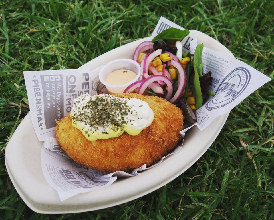 Mr Papa's panko-crumbed potato croquette.