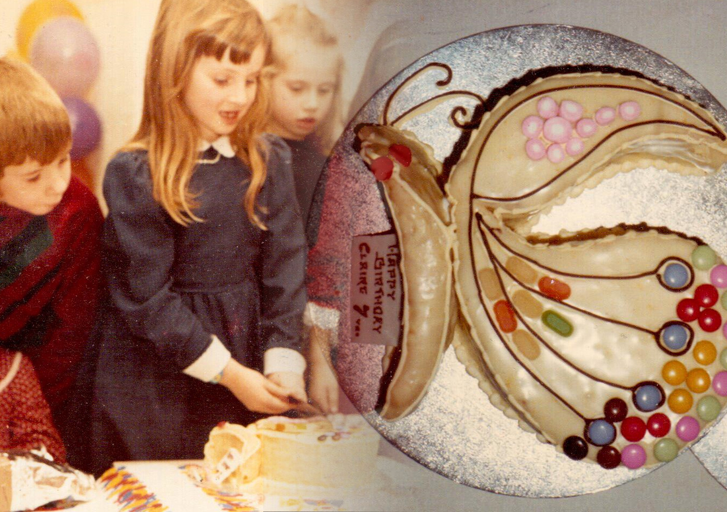 Seven year old Ginger Gorman cuts her butterfly birthday cake