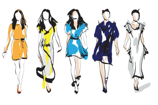 Woman Fashion models. Sketch. Hand drawn vector