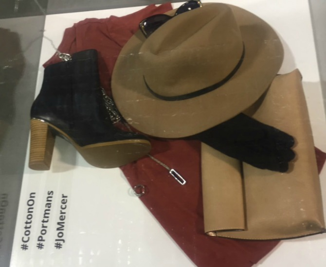 You can check out our founder Amanda's autumn flat lay, currently on display at the Canberra Outlet Centre.