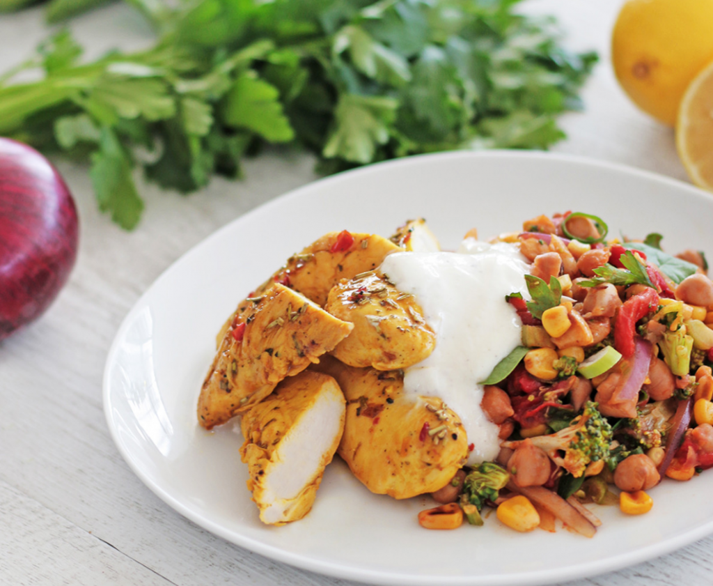 Lemon & Herb Tenders with Chickpea Paella
