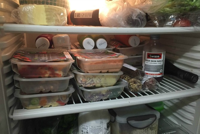 As my shelf of my sharehouse's fridge demonstrates, all you need in life is YouFoodz, vitamins and wine.