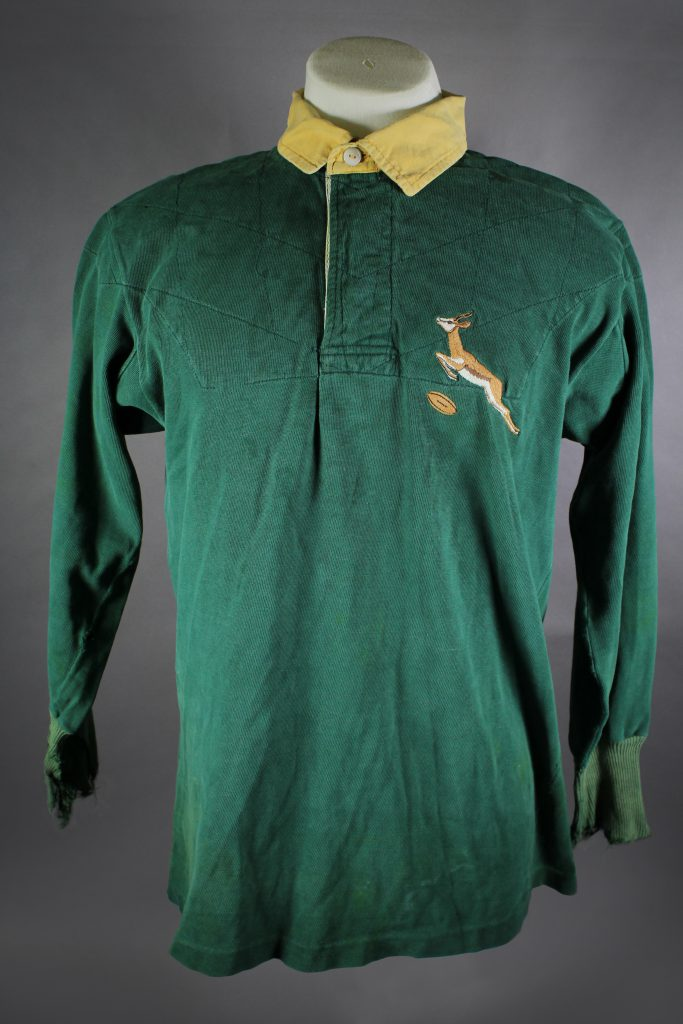 Springbok_Rugby_Union_jersey_worn_by_Gary_Foley_in_a_protest_(front)._On_loan_from_Jim_Boyce._Photographer_TBC