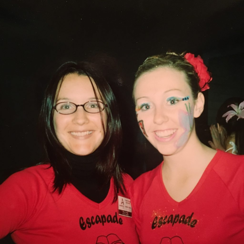 Louise Chapman (dance teacher) and Hannah Carey at Dance Festival in 2003. Louise is now a teacher at Daramalan College.