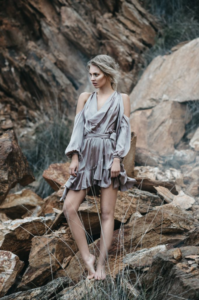 Samantha wears dress, $595, by Zimmermann available at David Jones Canberra Centre.