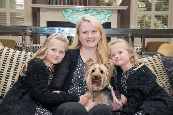 Adrienne with her daughters and Molly