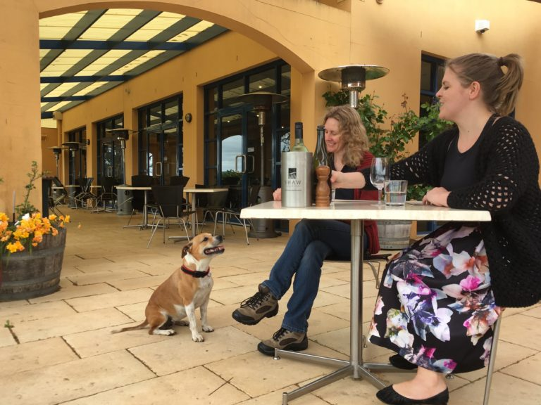 Winery dog, Indi, with Tanya Shaw and Flint's events and venue manager, Annika Rigby.
