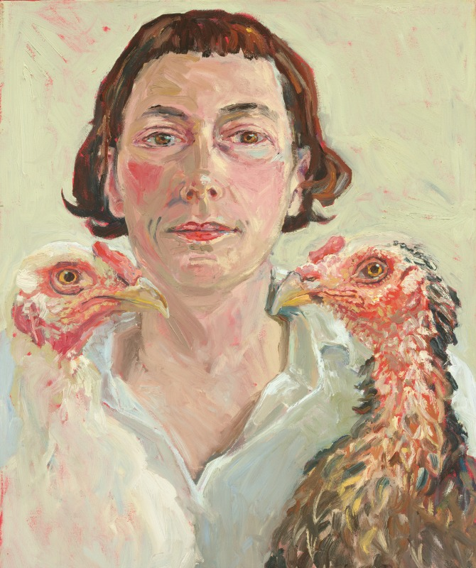 Self portrait with two cocks, 2003 by Lucy Culliton. Courtesy of Lucy Culliton.