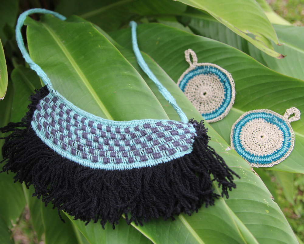 Fringe necklace and earrings
