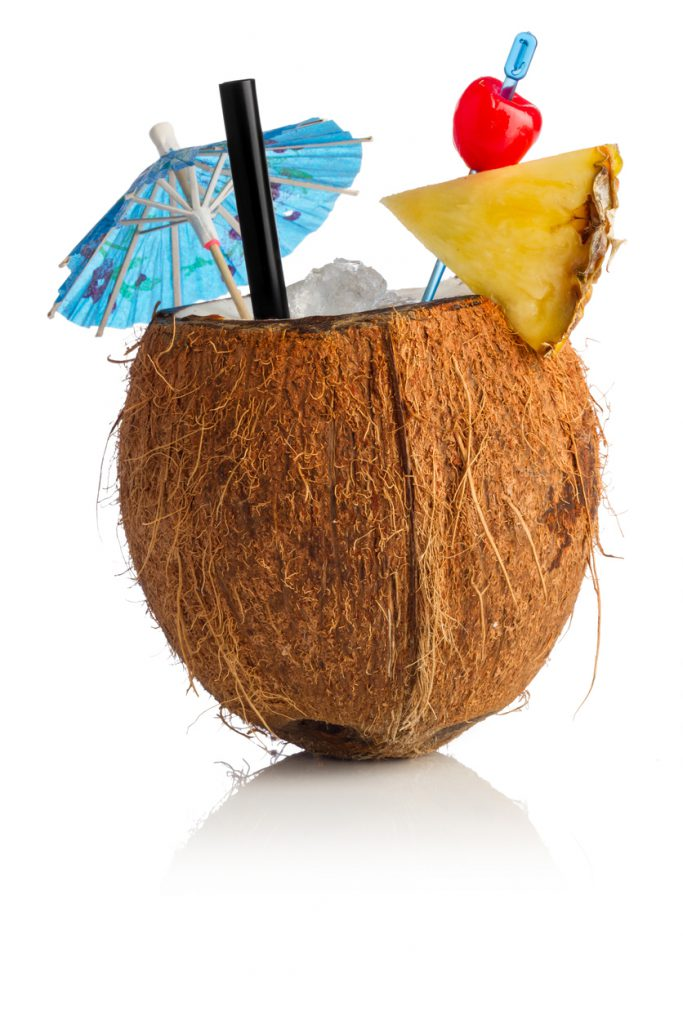 Cocktail coconut in front of white background