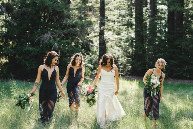 J&N bride & b-maids in forest